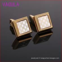 Boutons de manchette de mariage époxyde de cuivre d'or carré L51923