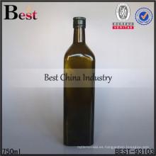 Botella de vidrio verde 750ml con doble tapa para vino