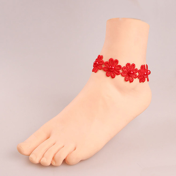 Red Daisy Lace Handmade Anklets