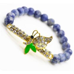 Sodalite Gemstone Bracelet with Diamante Butterfly Piece