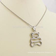 Hohle heraus nette Kinder silberne Metallbär-Halsketten-Schmucksachen