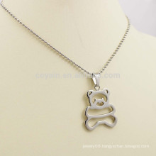Hollow Out Cute Children's Silver Metal Bear Necklace Jewelry