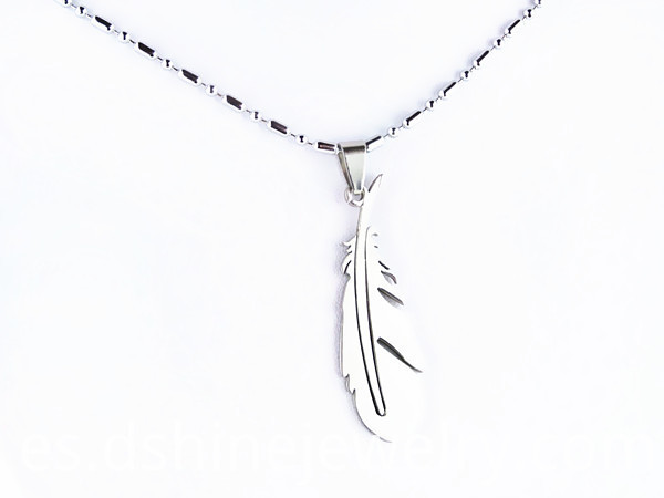 Feather Pendant Mens Chain Necklace