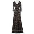 Starzz 2016 3/4 Sleeve V-Neck Elegant Black patterns of lace evening dress ST000012-1