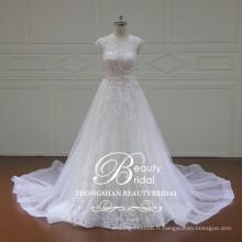 Custom Made Style / Taille / Couleur 2017 Real Image A Line Fleurs Squins Lace Robes de mariée en mariée