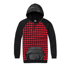 Rote Plaid-Patch-Leder-Kapuzenjacke mit Kapuze
