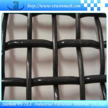 Fio de aço preto frisado malha quadrada de malha de arame