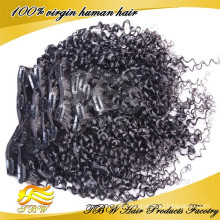 Qingdao hair factory, 100% unprocessed virgin clip in hair extension from qingdao China