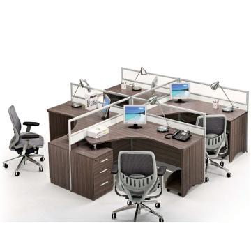 Conjunto de estação de trabalho de móveis de escritório moderno para mesa de trabalho de computador de escritório de 4 pessoas