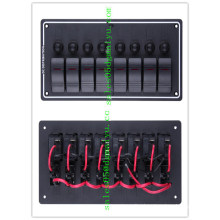 Marine 8 Gang Aluminium Waterproof Panel LED Rocker Switch Panel Circuit Breaker Marine Boat RV Switch Panel