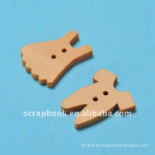 clothe shaped wooden decorative button for shirts