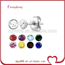 Stainless steel cheap high quality crystal earring stud
