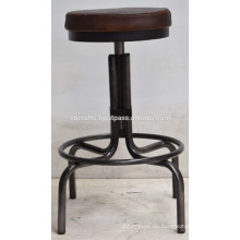 Industrial Metal Bar Hocker Metal Natural Finish Leder Rund Sitz