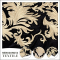 Buena venta de bordado de oro 100 tela de terciopelo de poliéster floral