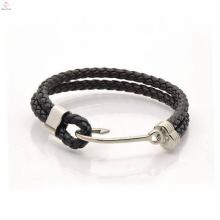 Bracelets de crochet en cuir d'acier inoxydable de deux couches