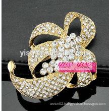 fashion ribbon fashionable crystal brooch