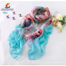 Lingshang vente en gros nouvelle mode design style robe fille écharpe en soie d'impression numérique