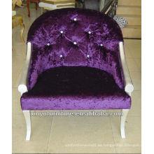 Púrpura de terciopelo brazo silla fábrica ventas XY2500