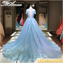 Chine vente en gros applique en dentelle longueur de plancher robe de mariée élégante et bleue