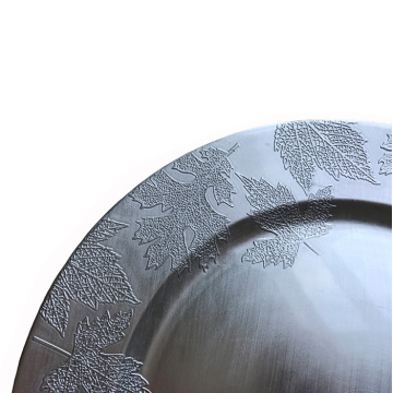 Silver Maple Leaves Plastic Plate with Metallic Finish