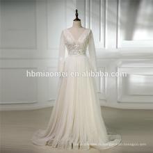 2018 luxe blanc couleur lourds perlés manches longues Chine personnalisé fait robe de mariée