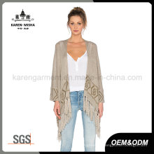 Ladies Fringed Aztec Knitted Oversized Sweaters