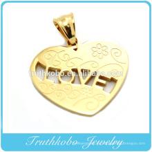 2014 Corte de láser de moda chapado en oro colgante en forma de corazón de acero inoxidable grabado al por mayor patrón tribal flor colgante collar joyería