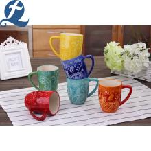Tasse en céramique de sublimation d'impression de couleur d'art promotionnel de mode avec la poignée en D