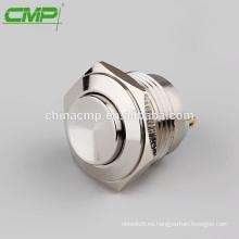 16 mm de acero inoxidable o latón, botón momentáneo impermeable 2 terminales de soldadura interruptores ip67