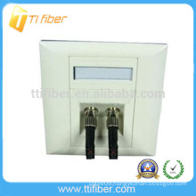 Two Port ST Bevel Fiber Optic Faceplate/ Wall Plate