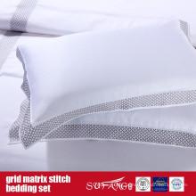 Grid Matrix Stitch Bedding Design Clássico Conjunto