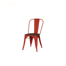 Outdoor Wooden Seat Metal Tolix Dining Chair