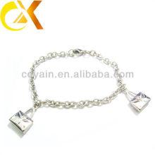 Pulseira de jóias de aço inoxidável com pingente de dois sacos para a menina linda