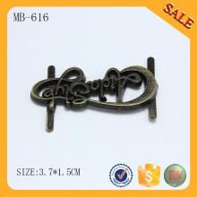 MB616 placa de metal antigua de la insignia de la letra de encargo