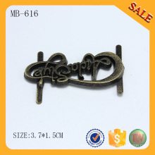 MB616 Custom letter logo antique metal plate