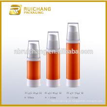 Frasco arless cosmético plástico de 20ml / 40ml / 50ml, frasco airless redondo plástico, frasco cosmético airless
