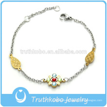 TKB-JB0176 Colourful jewel with rhinestone flower and drop shape gold metal 316L stainless steel bracelets & bangles for women