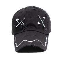 Black Baseball Cap with Flat Embroidery Logo