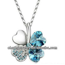Rhodium Plated Crystal Heart Lucky Clover Pendant Necklace For Women (PE-002G)