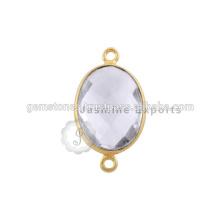 Atacado Best Quality Vermeil Gold Bezel conectores, Handmade Natural Gemstone Bezel Connectors