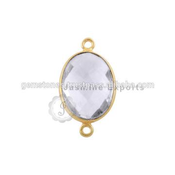 Großhandel beste Qualität Vermeil Gold Bezel Anschlüsse, handgefertigte natürliche Edelstein-Lünette Connectors