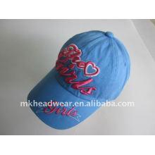 Seis gorras del deporte de la muchacha azul del panel con insignia del bordado 3D