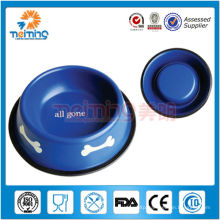 wholesale colorful non-skid stainless steel dog food bowl