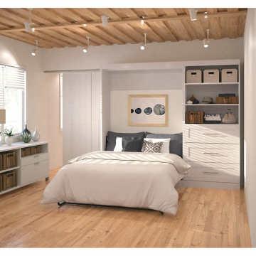 Armário de combinação de camas de casal dobráveis invisíveis de madeira