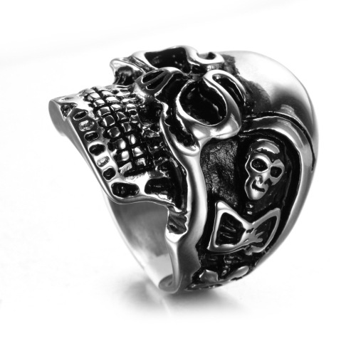 High polished skull ring