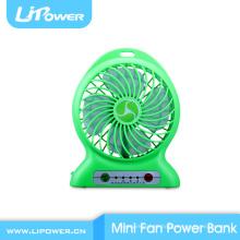 Rechargable ventilador super vento forte mini ventilador com banco de poder função de velocidade ajustável e lanterna LED