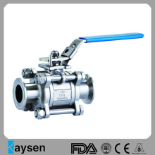 Válvula de esfera sanitária Tri PC SS304 de 3 peças