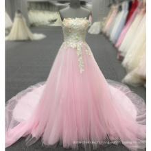 Rose robe de soirée fleur appliques de dentelle sans manches de célébrité longues robes de soirée 2018