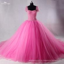 TW0175 Rhinestones desmontables rosados del arco y vestido de bola del vestido de boda de la perla