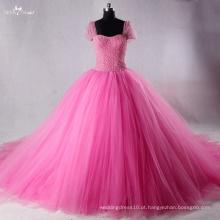 TW0175 Rhinestones de arco destacável rosa e vestido de casamento pérola vestido de bola